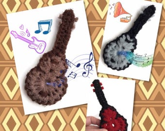 Guitar Scrubbies,3 to 10 Crochet Acoustic Guitar,Nylon Pot Scrubbers,Red,Brown,Gray Music Gift,Kitchen Decor,Housewarming,Gift for Him/Her