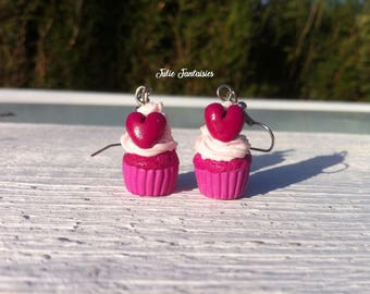 """Cupcakes girly"" greedy earrings with polymer clay"