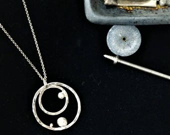 Sterling Silver Circles and Dots Necklace