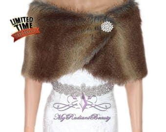 Faux Fur Stole, Vintage Brown Faux Fur Wrap, Fur Cape, Fur Shawl, Bridal Fur Shrug, Wedding Fur Stole, Bridal Shawl, Bridal Stole  FW108-VBN