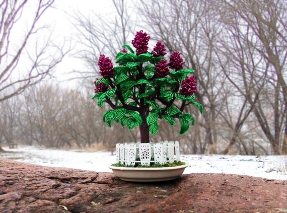 artificial lilac bonsai tree made of seed bead beaded. Black Bedroom Furniture Sets. Home Design Ideas