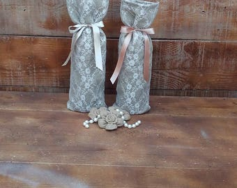 Burlap and Lace Wine Bags - Wine Bags -  Wedding Wine Bags - Burlap Wine Holder - Burlap Wine Cozy - Wine Sack - Set of 8