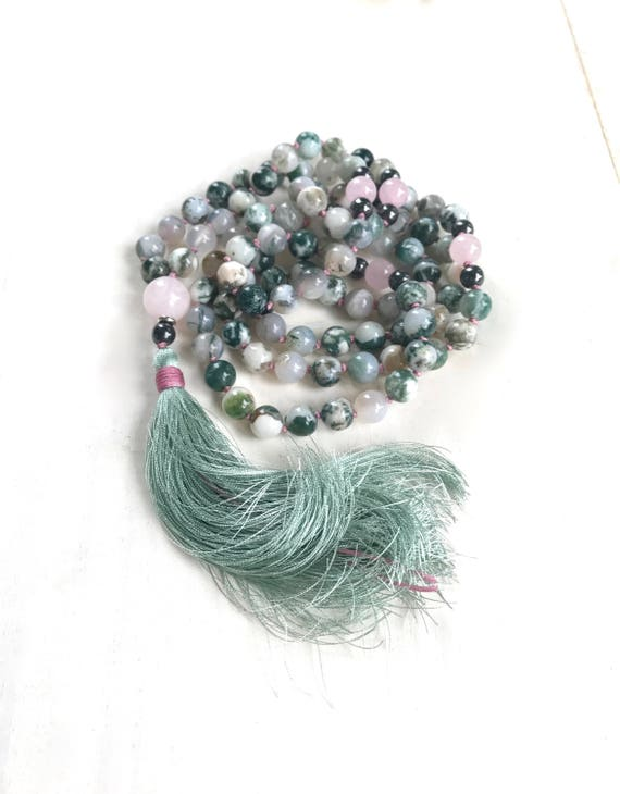 Positive Vibration Mala Beads, Green Agate And Rose Quartz Mala, 108 Mala Beads, Yoga Prayer Beads, Silk Tassel And Hand Knotted