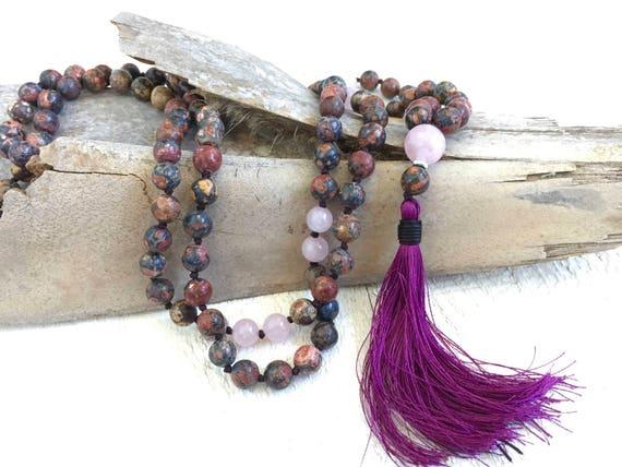 Jasper Mala Beads, Mala Beads For Strength, 108 Mala Necklace, Knotted Mala Necklace, Silk Tassel Prayer Beads, Mantra Mala