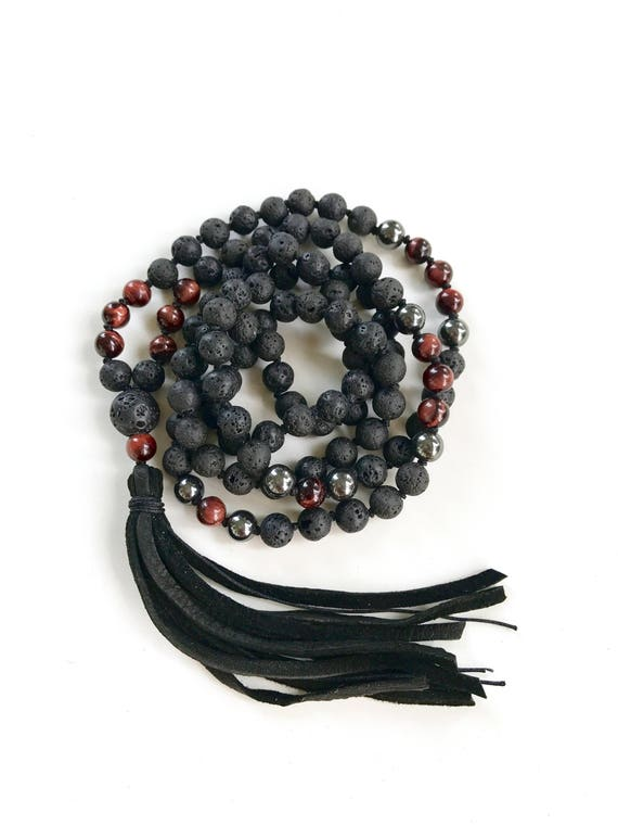 Men's Root Chakra Mala, Calm Emotions Mala, Black Lava And Red Tiger Eye Mala Necklace, Unixes Mala Beads, Mala For Grounding And Balancing
