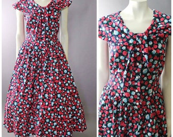 Vintage 80s Fit & FLARE Full circle Skirt Floral Garden Party DRESS S M 8