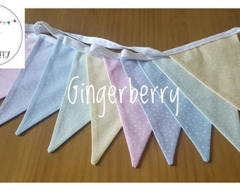 LAST ONE !!!  Pretty pastel shabby chic bunting: dots/spots (or stripes)