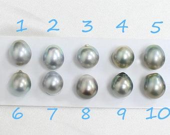 Clean Silver Green 12mm Tahitian Pearls - Oval, Drop Pearls