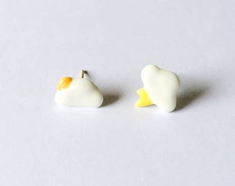 Weather Clouds Earrings - Ceramic earrings - Post earrings - Stud earrings - White earrings - Cloud earrings - Mismatched earrings