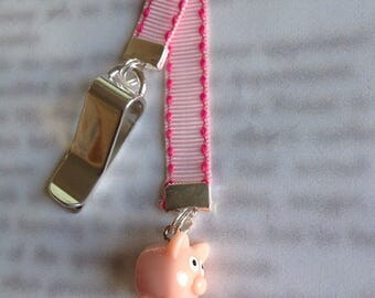 Pig bookmark / Piglet bookmark / Piggy Cute bookmark - Attach to book cover then mark the page with the ribbon. Never lose your bookmark