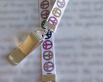 ON SALE Peace Sign bookmark with clip - Attach clip to book cover then mark the page with the ribbon. Never lose your bookmark!