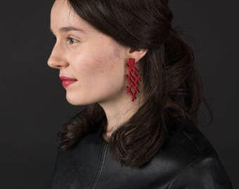 Red wooden  statement earrings