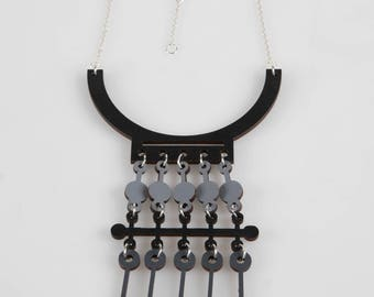 Black, grey  geometric style wooden necklace