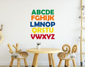 26 Alphabet Wall Stickers - Alphabet Decal - ABC Decal - Alphabet Nursery Decal - Playroom Stickers - Kids Wall Decal - Library Decals