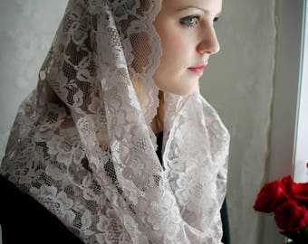 Evintage Veils~ Our Lady Misty Taupe Embroidered Lace Chapel Veil Mantilla Latin Mass Infinity Veil