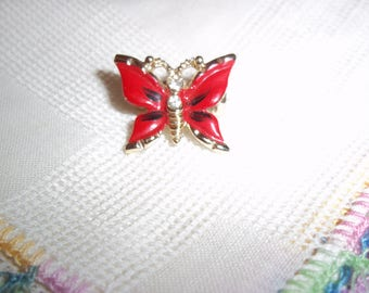 Vintage Dainty Red Enamel Butterfly Scatter Pin with Clear Rhinestones Mid Century 1950's  Petite and Bold Costume Jewelry