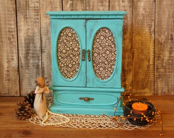 Boho Turquoise Jewelry Box Wood Jewelry Box Armoire - Vintage - Jewelry Storage Box Necklace Hanger & Drawer Girls Valentines Gift for Her