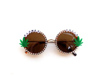 Flower Child sunglasses with mini pot leaves, I love you Mary Jane!