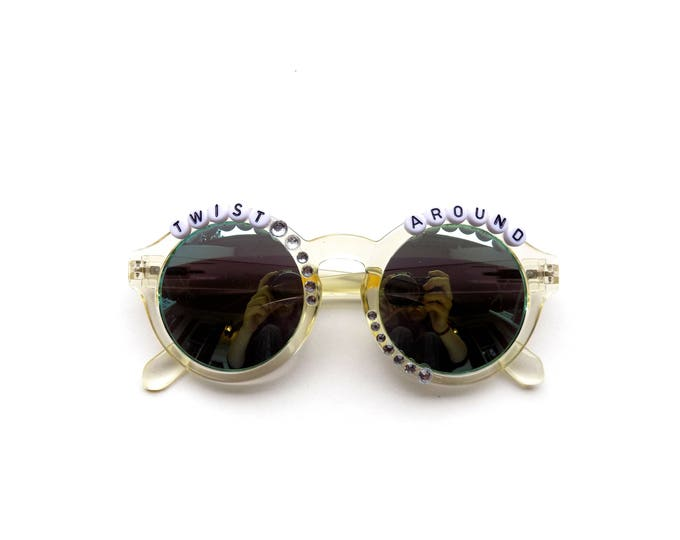 "Phish Twist ""Twist Around"" sunglasses, hand decorated embellished funky festival shades, Phish novelty gift, Phishy fashion accessory"