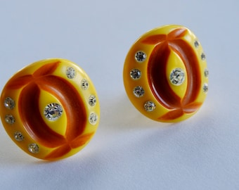 1950's Carved Lucite Rhinestone Earrings