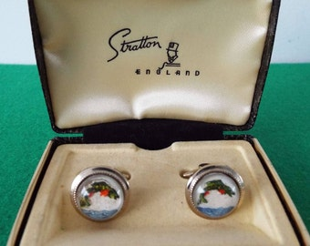 Vintage 1960's Stratton Lucite Leaping Fish Cufflinks In Box Fishing Cufflinks Angler Gone Fishing Novelty Cufflinks