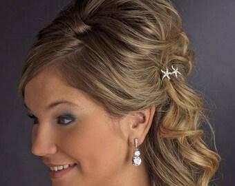Beach Wedding Hair Accessory, Starfish Hair Pin, Destination Wedding, Bridal Hair Pin, Rhinestone Silver or Gold Starfish Hair Pin