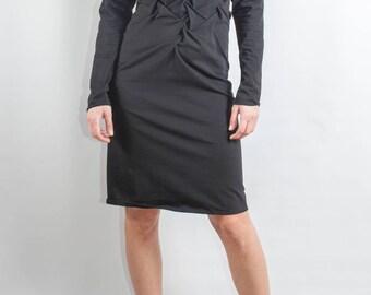 black dress/ modern dress/ interesting dress/ hand smocking dress