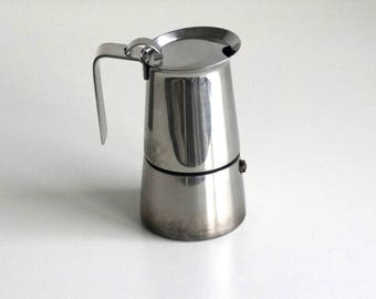 Moka Stainless steel stovetop espresso coffee maker, Italian GB coffeepot 3 cups, with extra gasket