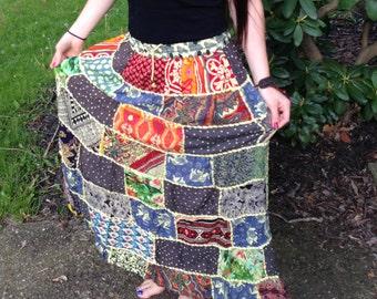 Cute Bohemian Hippie Patchwork Skirt