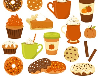80% OFF SALE Pumpkin Spice Clipart, Fall, Donut Clipart, Coffee Clipart, Cupcakes, Muffins, Cookies, Printable, Commercial Use
