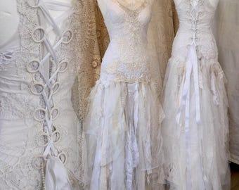 Boho Wedding dress tattered,bridal gown tattered, wedding dress antique lace,beach wedding dress,wedding dress lace,vintage inspired wedding