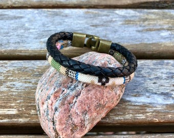 Mens Leather Bracelet Fathers Day Gift For Men Gift For Dad Black Braided Leather Bracelet Braided Woven Rope Bracelet Bangle Leather Cuff