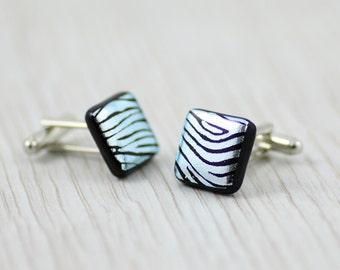 Fused Glass Cuff Links - Dichroic Glass Zebra Patterned Cuff Links - Dichroic Glass Mens Jewellery.  JBT488