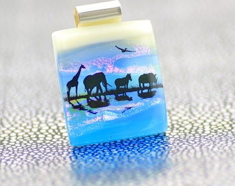 Fused Glass African Pendant - Dichroic Glass Pendant - African Animals at Watering Hole - Fused Glass Jewellery-Landscape Pendant.  JBT567