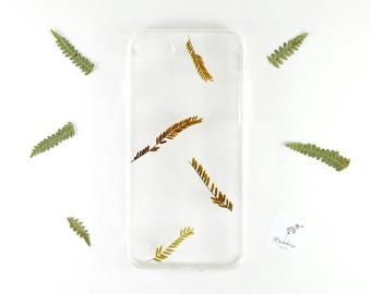 iPhone 7 / iPhone 8 plant inspired case with real pressed leaves