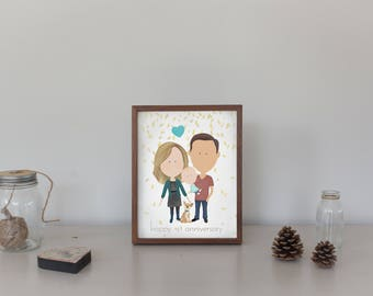 1st Anniversary Portrait First Wedding Gift For Him