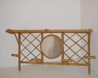 Large Vintage Rattan / Bamboo Coat Rack with 4 Hooks , Shelf and central  Mirror French mid century 1960 s 1970 s