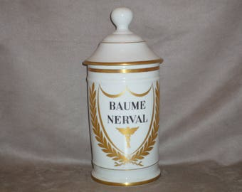 Large French Apothecary Bottle. Pharmacy jar Porcelain of Limoges France. very high quality BAUME NERVAL balm / cream