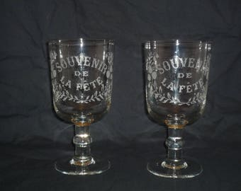 Set of two Large French Souvenir Glasses   Antique engraved glass End 1800 / early 1900s  Wedding, communion Baptism gift Souvenir  BIG XXL