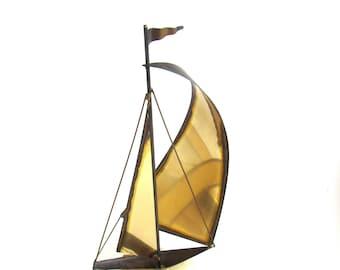 Brutalist Ship Sculpture Brutalist Sculpture Windjammer Nautical Sailboat Brutalist Metal Sculpture Onyx Beach House DeMott Mid Century