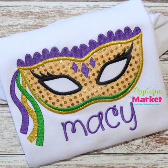 Mardi Gras Mask Applique, Mardi Gras Shirt, Gown or Bodysuit, Mardi Gras Mask Shirt, Mask Applique, Girls Mardi Gras Shirt, Toddler Mardi Gr