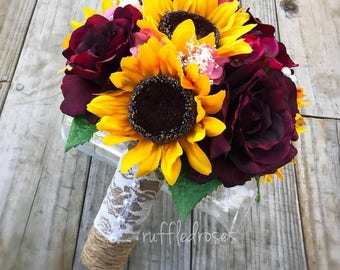 Sunflower Bouquet, Rustic Bouquet, Wine and Sunflower Bouquet, Marsala Sunflower Bouquet, Bridal Bouquet