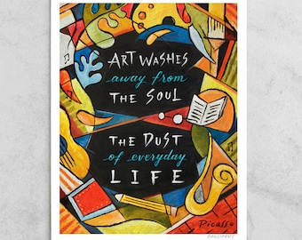 "Pablo Picasso Print, ""Art Washes the Dust"" Artist Quote, Cubism, Red, Black & Yellow, Everyday Life, Chalkboard Art, 8x10, 11x14, 24x30"