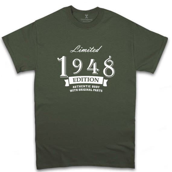Limited Edition 1948 t shirt gift ideal 70th birthday gift for man, a son or a father who's celebrating a seventieth birthday: Utter Apparel