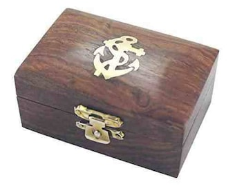 Small maritime wooden box with brass inlay anchor