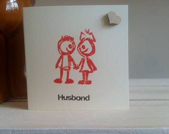 Husband Birthday Card - Husband Anniversary Card - Doodle Card - Sketched Card - Special Husband - My Hubby Card