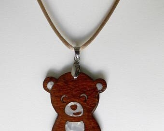 wooden panda bear necklace