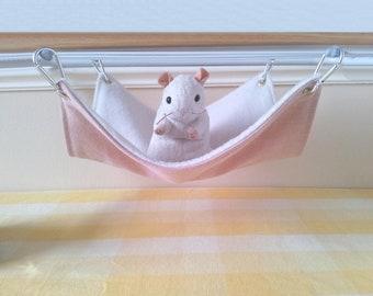 Large Pet Hammock Ferret Hammock Rat Hammock Pink and White Handmade Hard Wearing Rat Cage Toy Upcycled Denim and Fleece Rat Cage Accessory