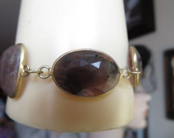 "Victorian 46.00ctw  Three Natural Fancy Red Sapphires 14k Gold/925 Sterling Silver Adjust Bracelet, Wt. 14.8 Grams, 8.5"" Long"