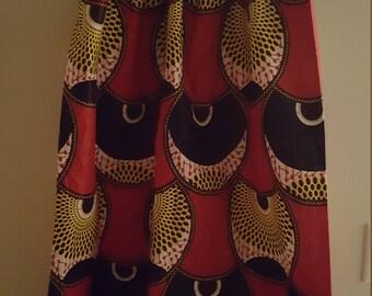 High waisted long African print skirt